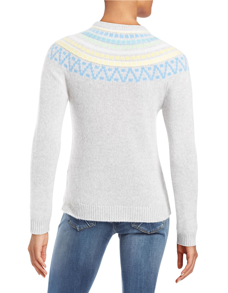 Lord & taylor Patterned Cashmere Sweater in Blue | Lyst