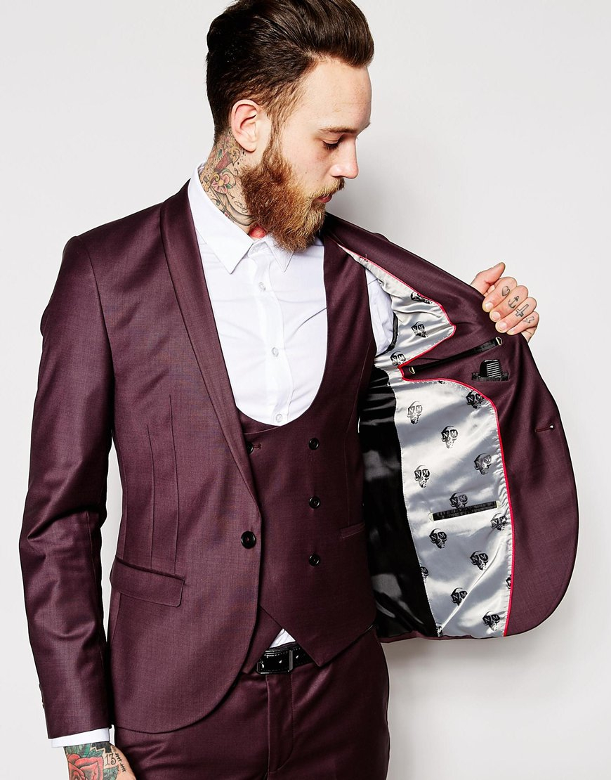 Noose and monkey Suit Jacket With Shawl Lapel In Super Skinny Fit ...