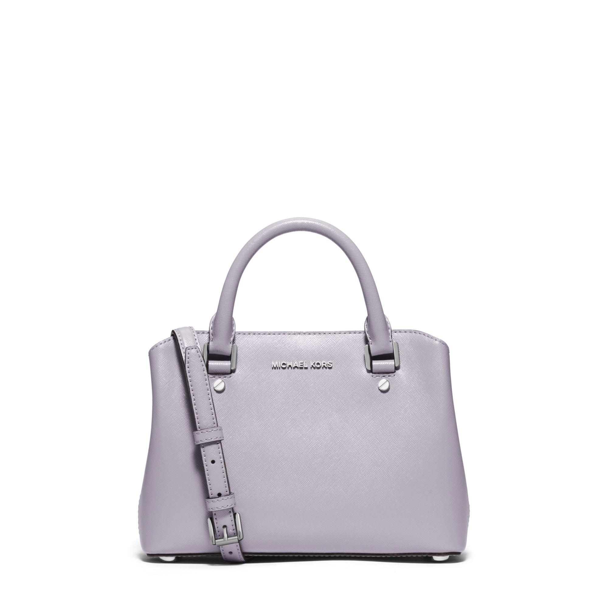 1a339fcb21b9 Michael Kors Savannah Small Patent-leather Satchel in Purple - Lyst