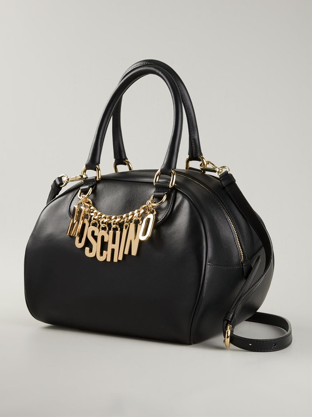 moschino logo chain bowling bag in black lyst. Black Bedroom Furniture Sets. Home Design Ideas