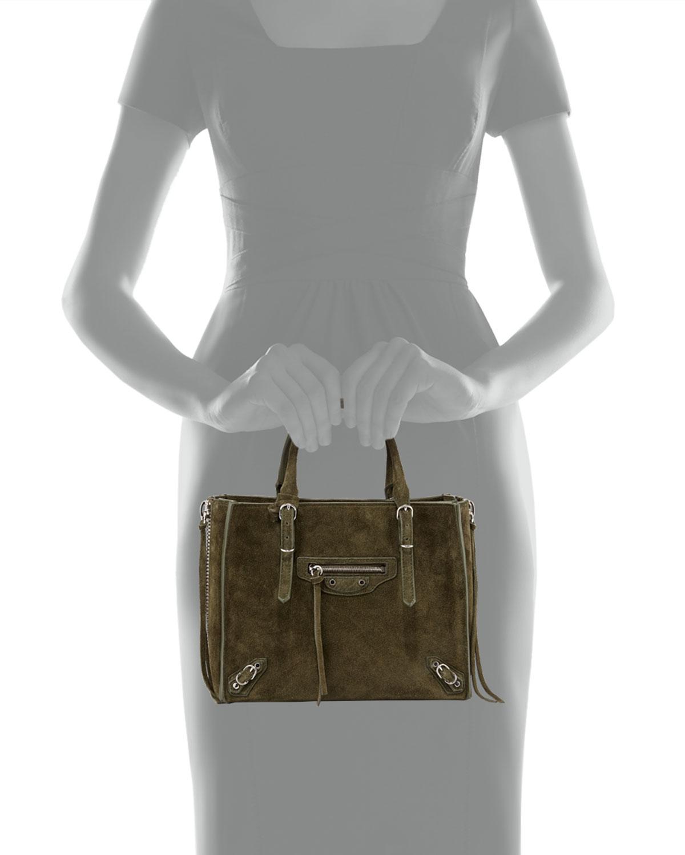 c8c6a632a52 Balenciaga Papier A4 Mini Suede Tote Bag in Green - Lyst
