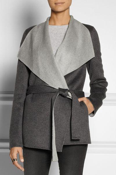 Joseph Lisa Wool And Cashmere Blend Felt Wrap Coat In Gray