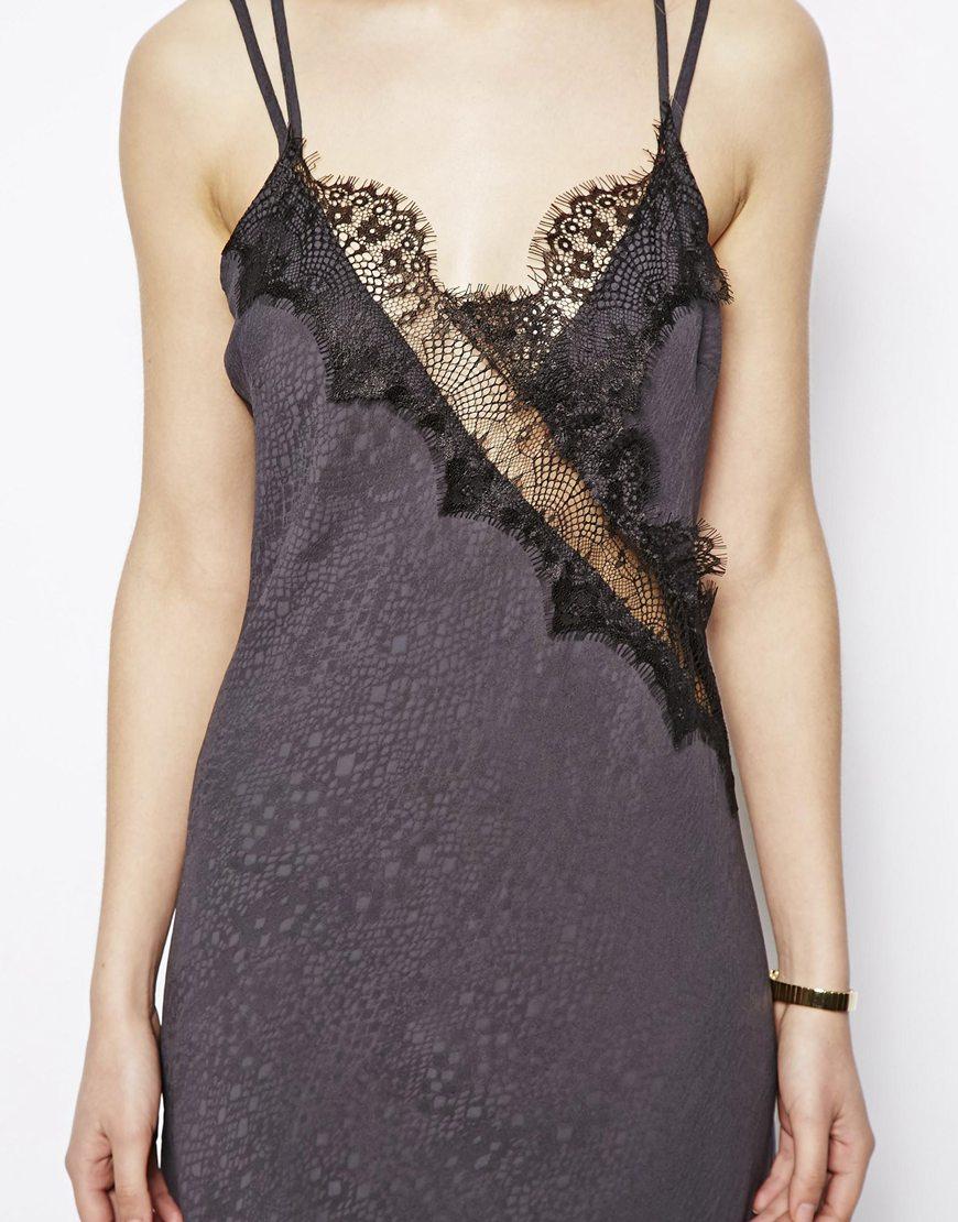 Black lace camisole dress