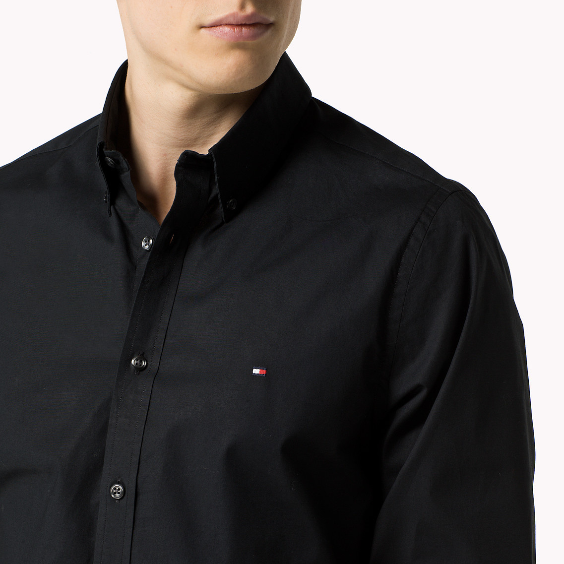be8c1e49c Tommy Hilfiger Stretch Cotton Slim Fit Shirt in Black for Men - Lyst