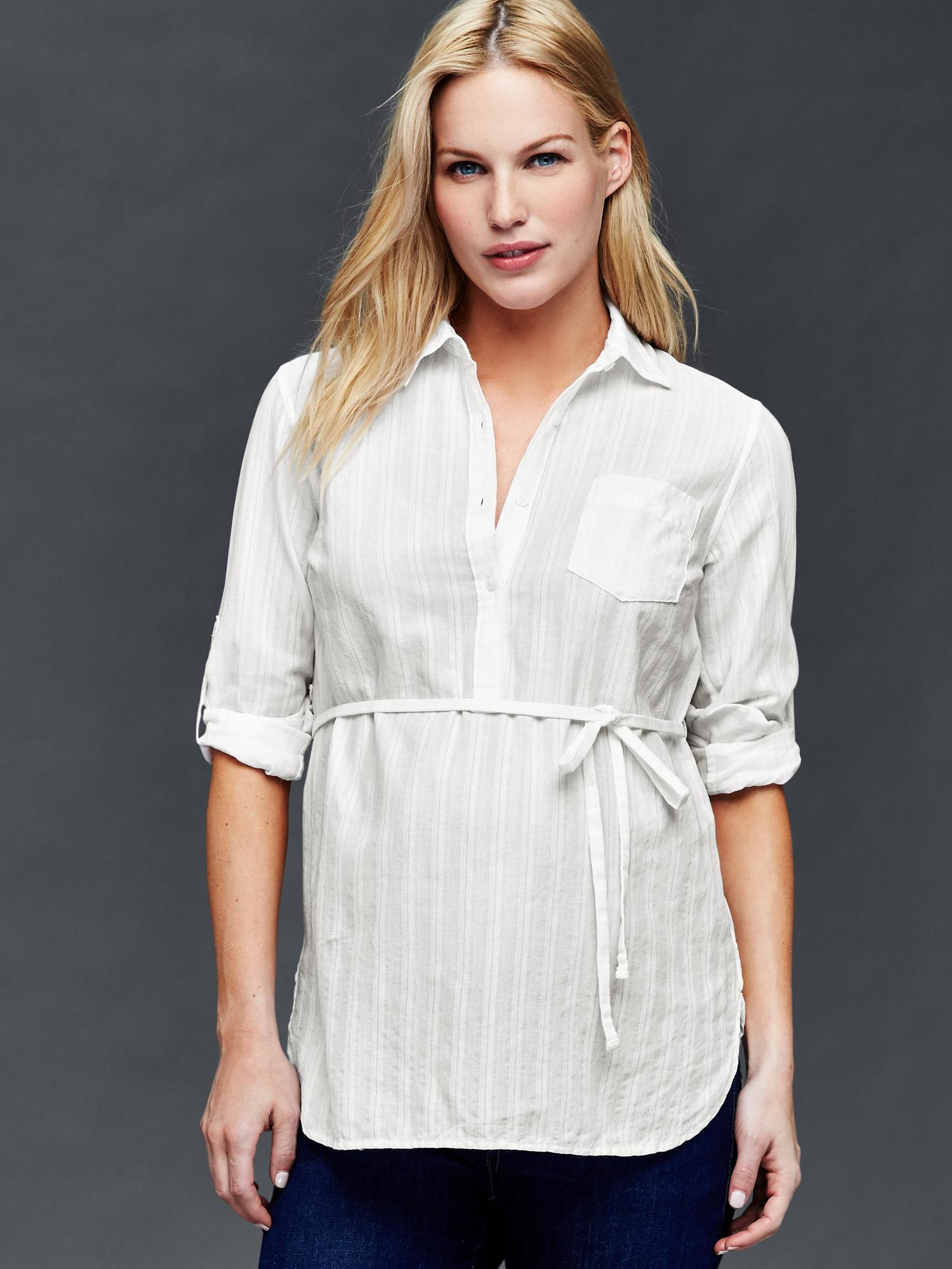 Gap Tailored Textural Stripe Shirt In White New Off White