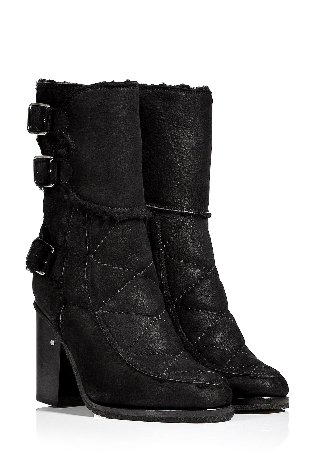 laurence dacade shearling lined ankle boots black in