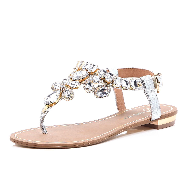 68da5842b River Island Silver Gemstone Embellished Sandals in Metallic - Lyst