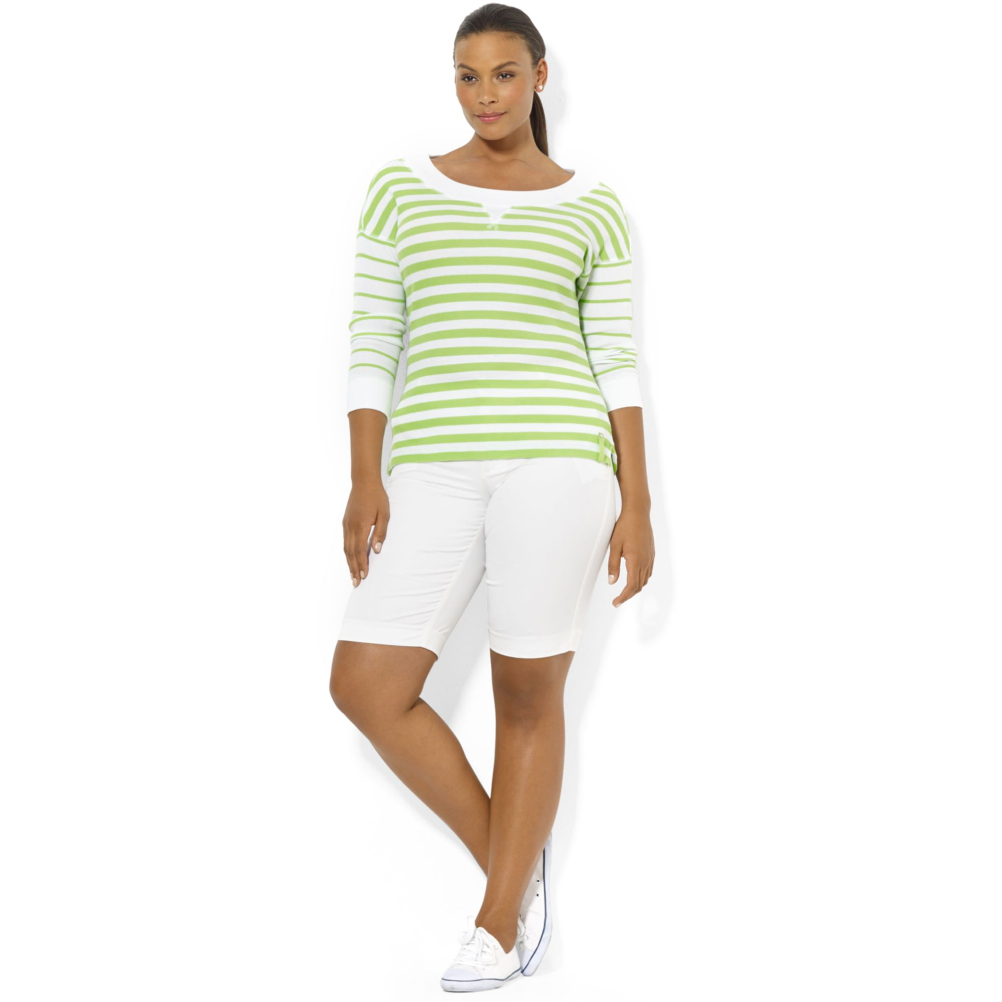 lauren by ralph lauren plus size longsleeve striped waffleknit top in green urban lime white. Black Bedroom Furniture Sets. Home Design Ideas