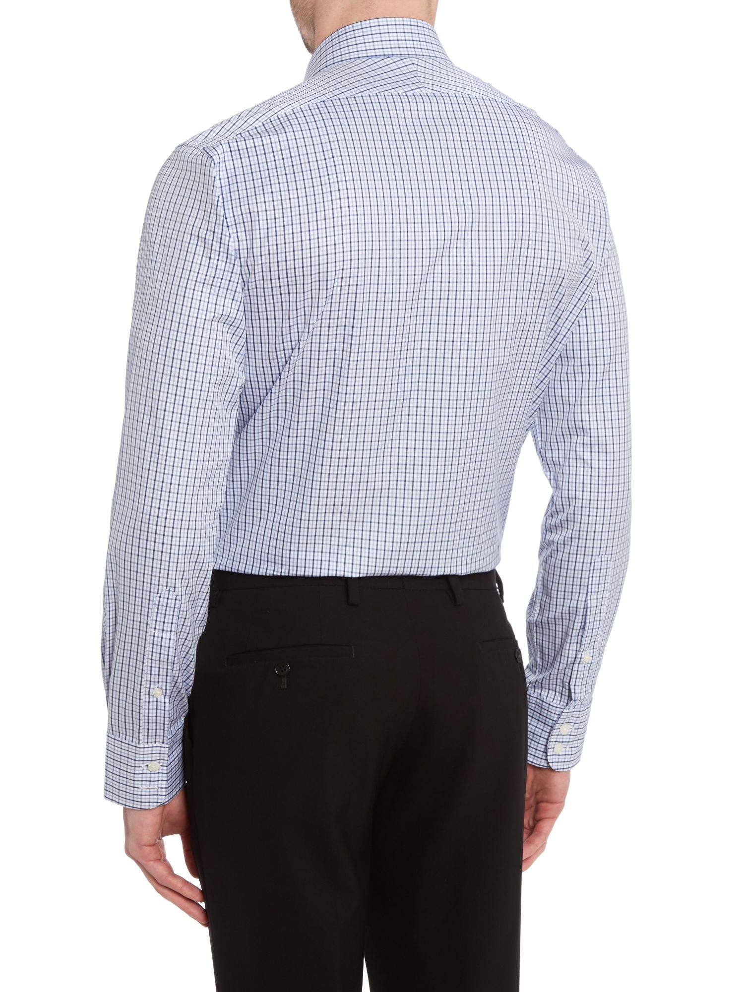Tm Lewin Check Slim Fit Long Sleeve Shirt In Blue For Men