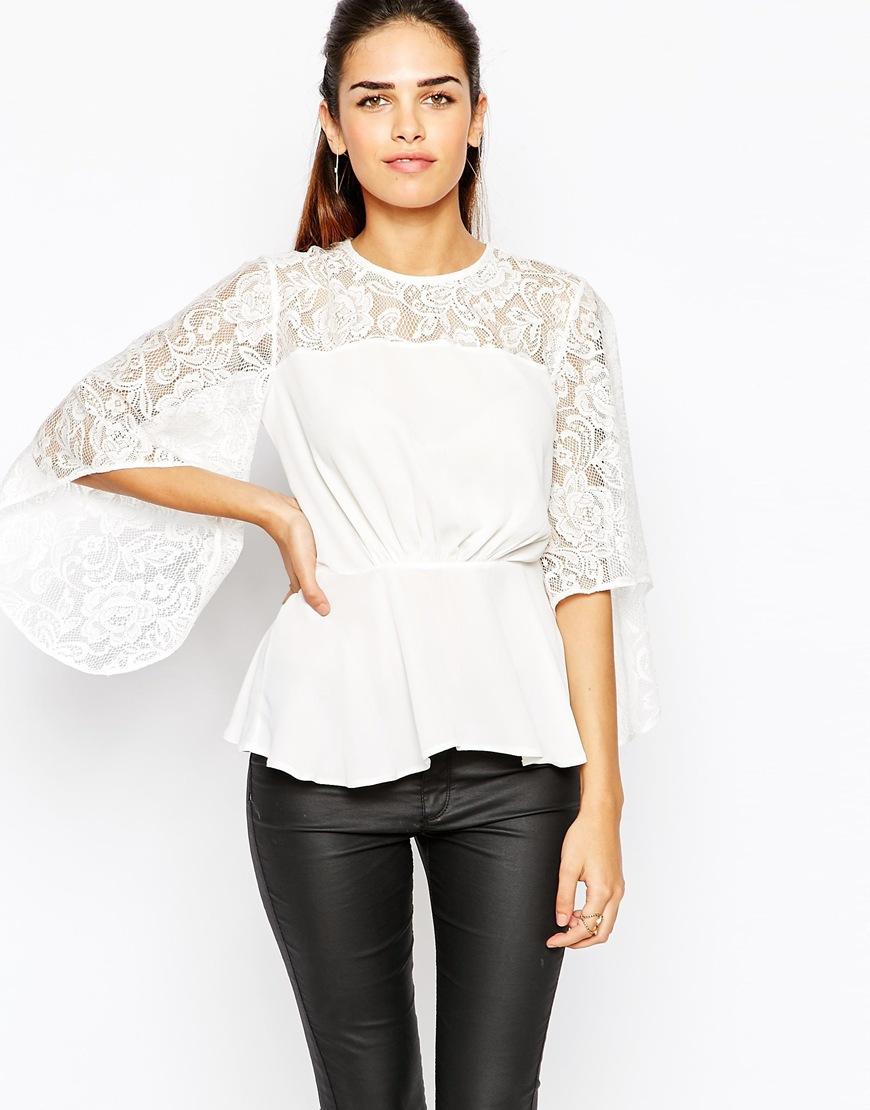 cbc03198bea Elise Ryan Lace Kimono Sleeve Top in White - Lyst