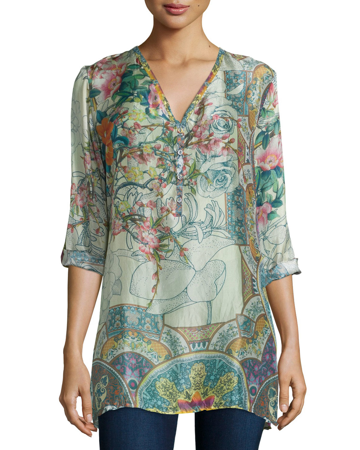 Johnny Was Villa Long Sleeve Printed Silk Blouse In Green