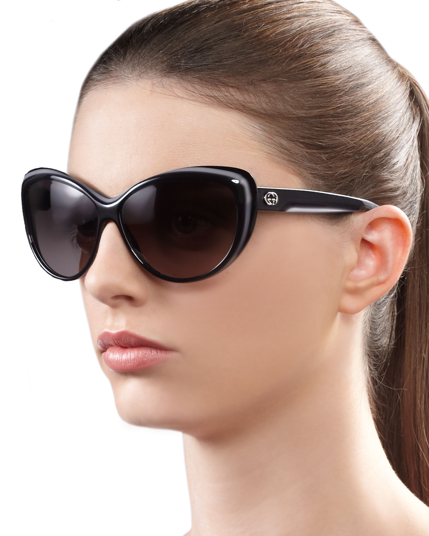 c4d953ef083b3 Gucci Round Cat Eye Sunglasses in Gray - Lyst