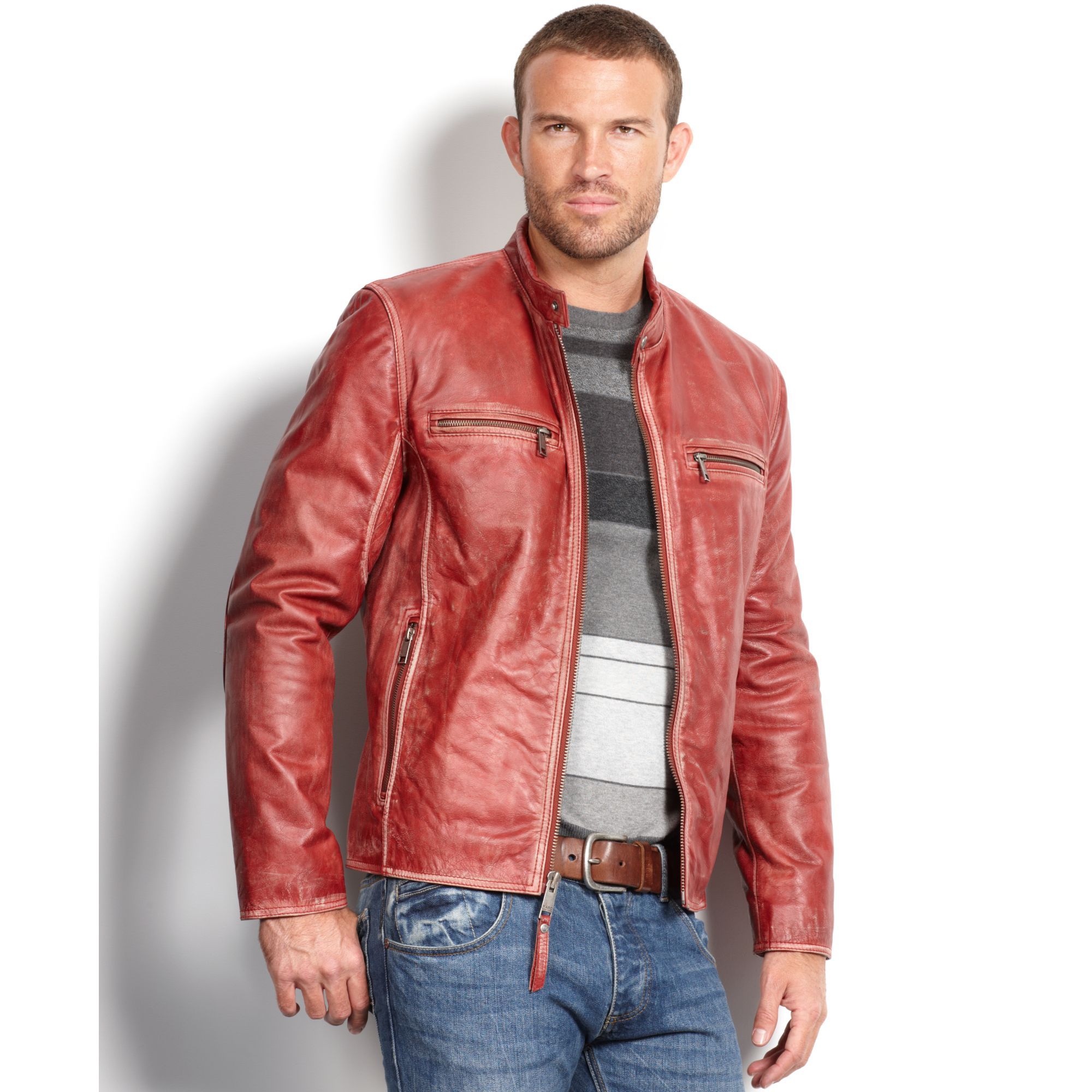 Marc new york Ryder Distressed Calf Leather Moto Jacket in Red for ...