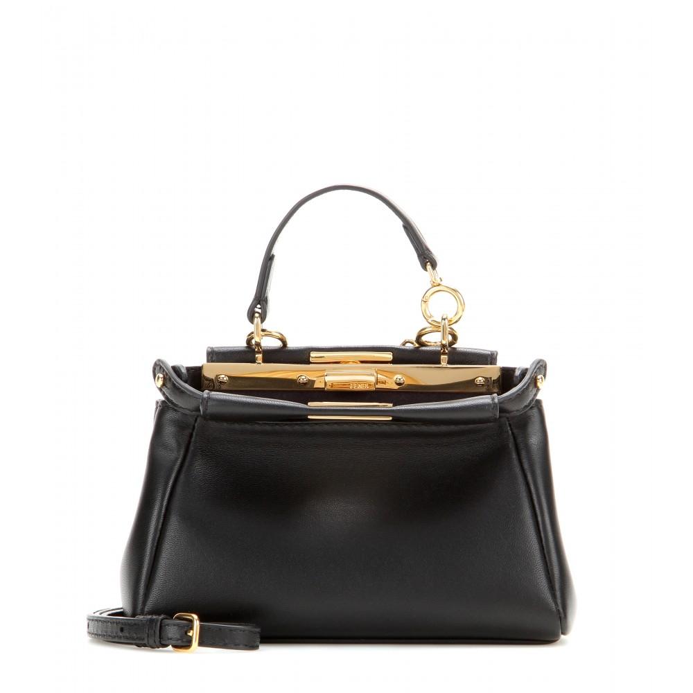 0f87aa3f36d Fendi Micro Peekaboo Leather Shoulder Bag in Black - Lyst