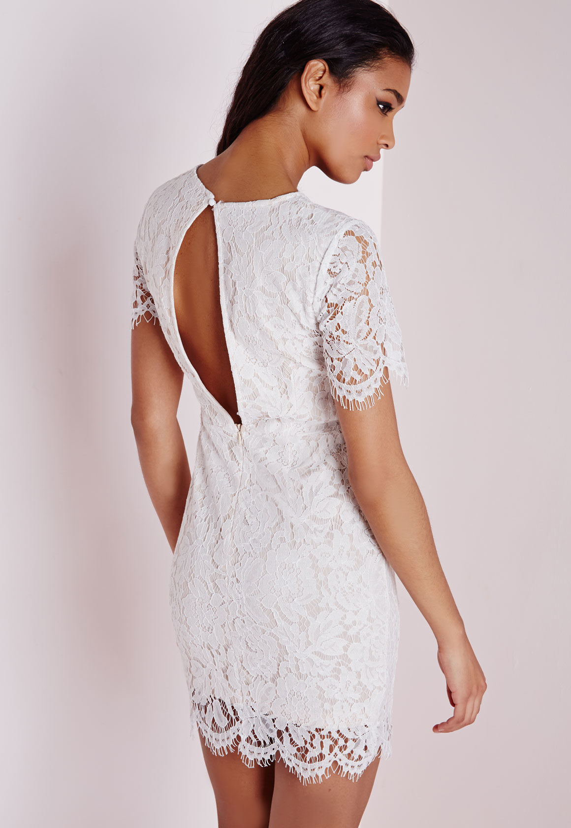 1ccf0074d0f Ivory White Mina Short And Lacy Bodycon Dress