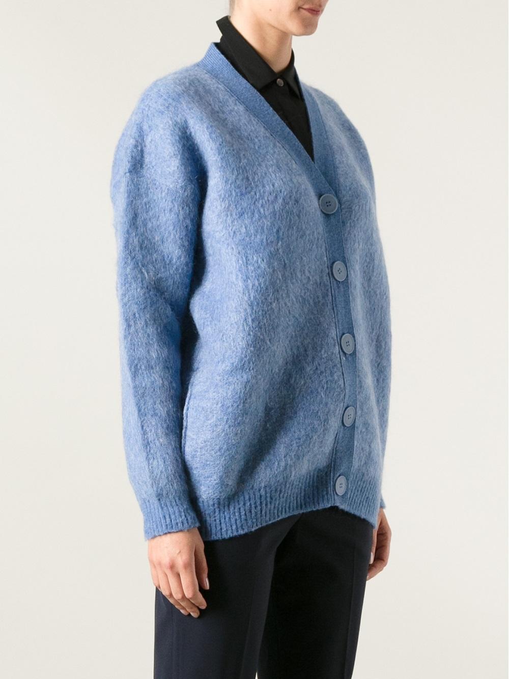 Stella mccartney Oversized Cardigan in Blue | Lyst