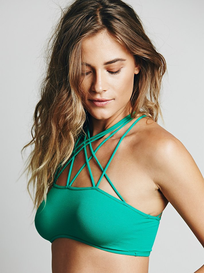 d2dcb35f57 Lyst - Free People Strappy Front And Back Bra in Green