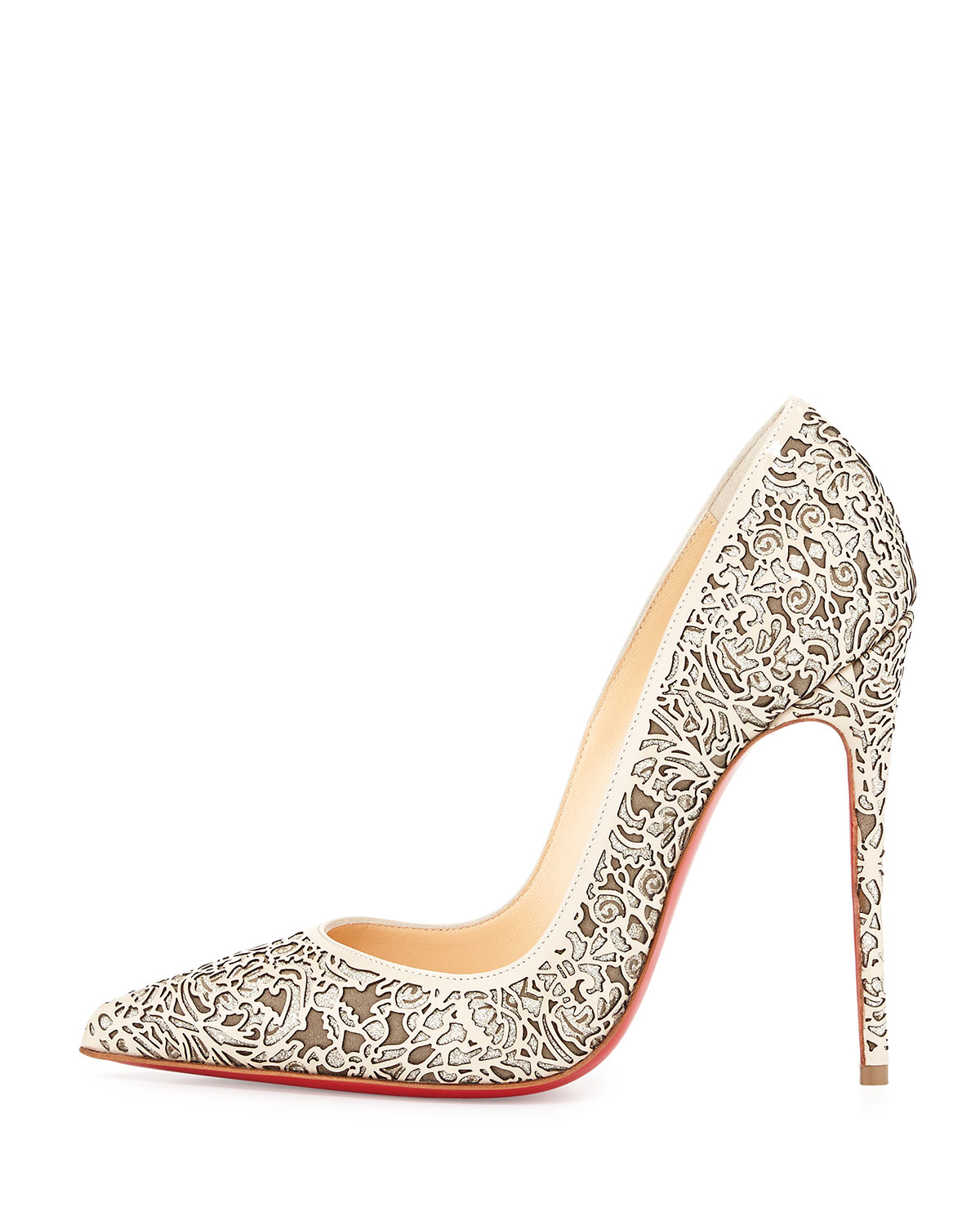 6feed308a6e8 ... coupon code for lyst christian louboutin so pretty laser cut pump in  natural 9faef ce6d4