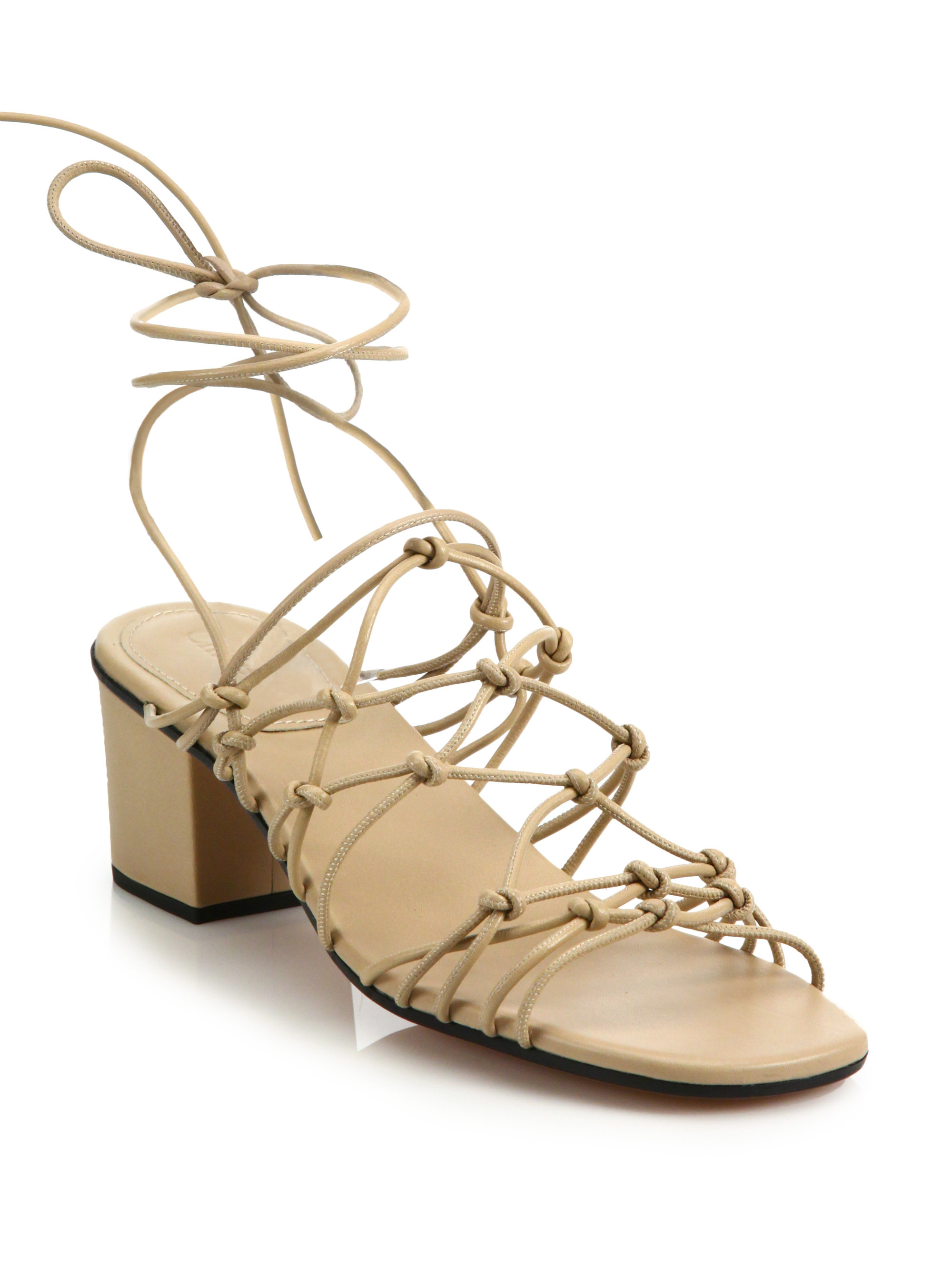 fa5b1f3c1a2 Lyst - Chloé Knotted Leather Lace-up Block-heel Sandals in Natural
