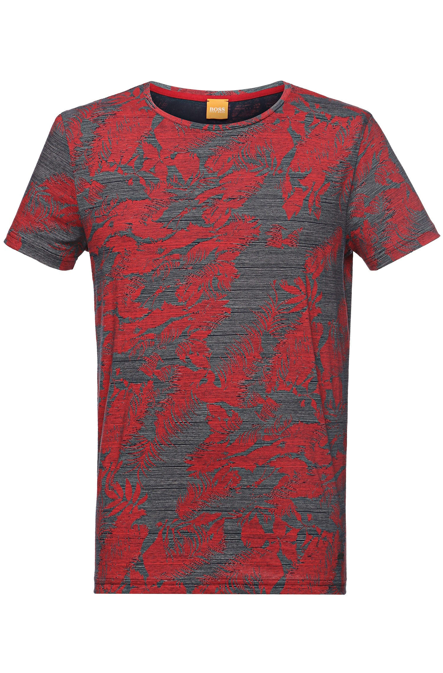 Boss Orange Cotton T Shirt With All Over Print 39 Tinus 39 In