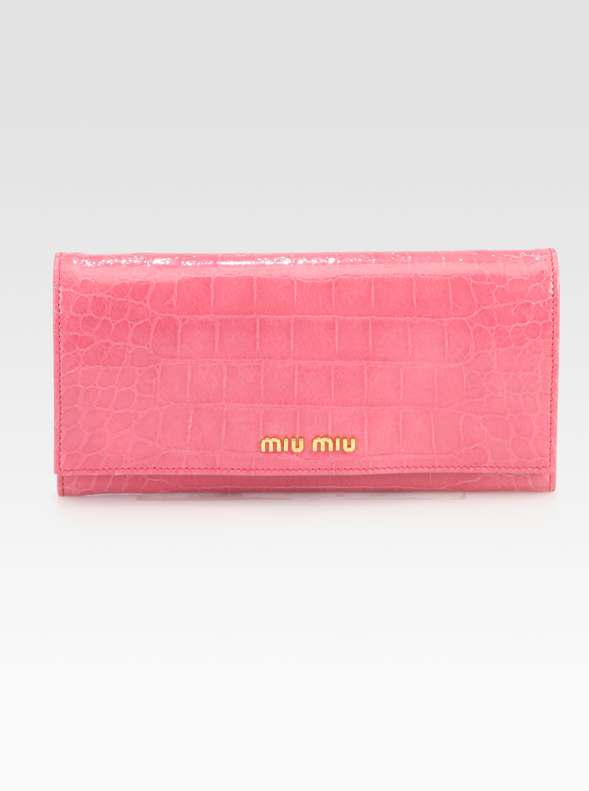 53e634e02ad6 Lyst - Miu Miu Crocodile Embossed Leather Continental Wallet in Pink