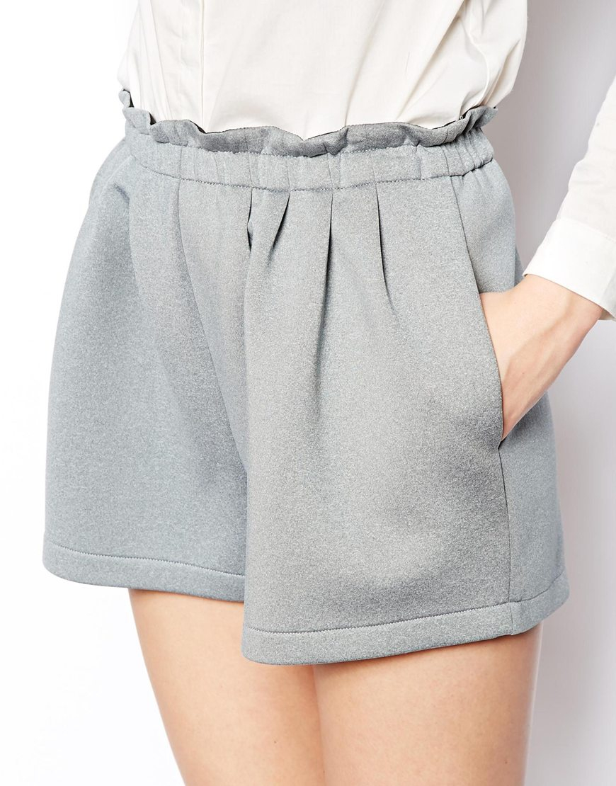 Asos High Waisted Scuba Shorts in Gray | Lyst