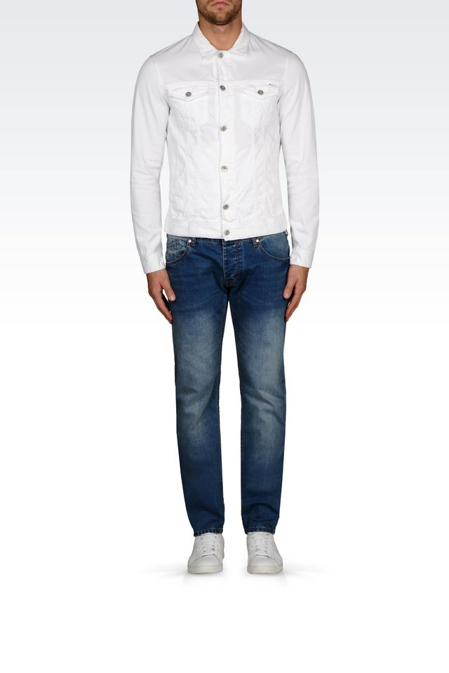 Lyst Armani Jeans Denim Jacket In White For Men