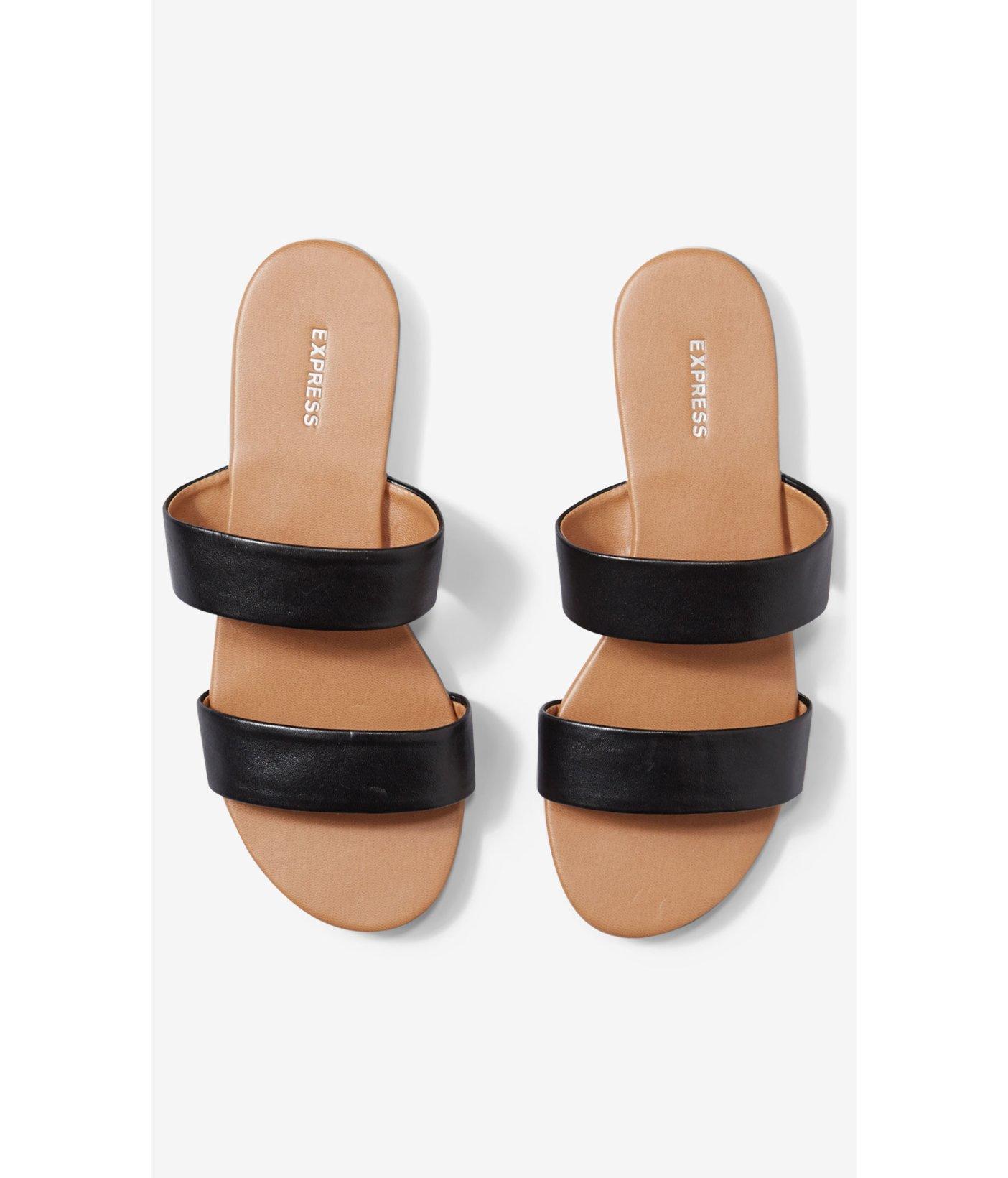 8946585129066 Lyst - Express Two Strap Slide Sandals in Black