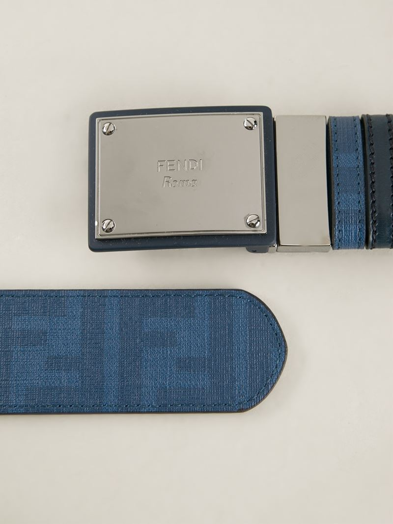 Lyst - Fendi Logo Plaque Buckle Belt in Blue for Men