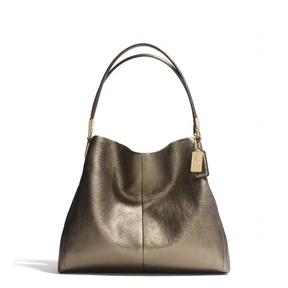 Coach Madison Phoebe Shoulder Bag In Metallic Leather 114
