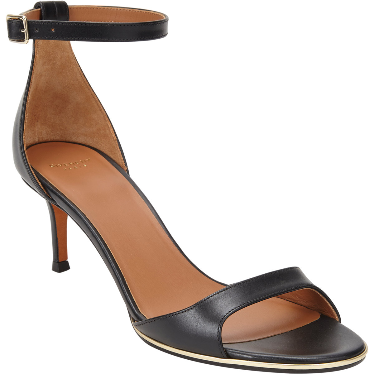 3b898f304b0 Lyst - Givenchy Curved-Band Ankle-Strap Sandals in Black