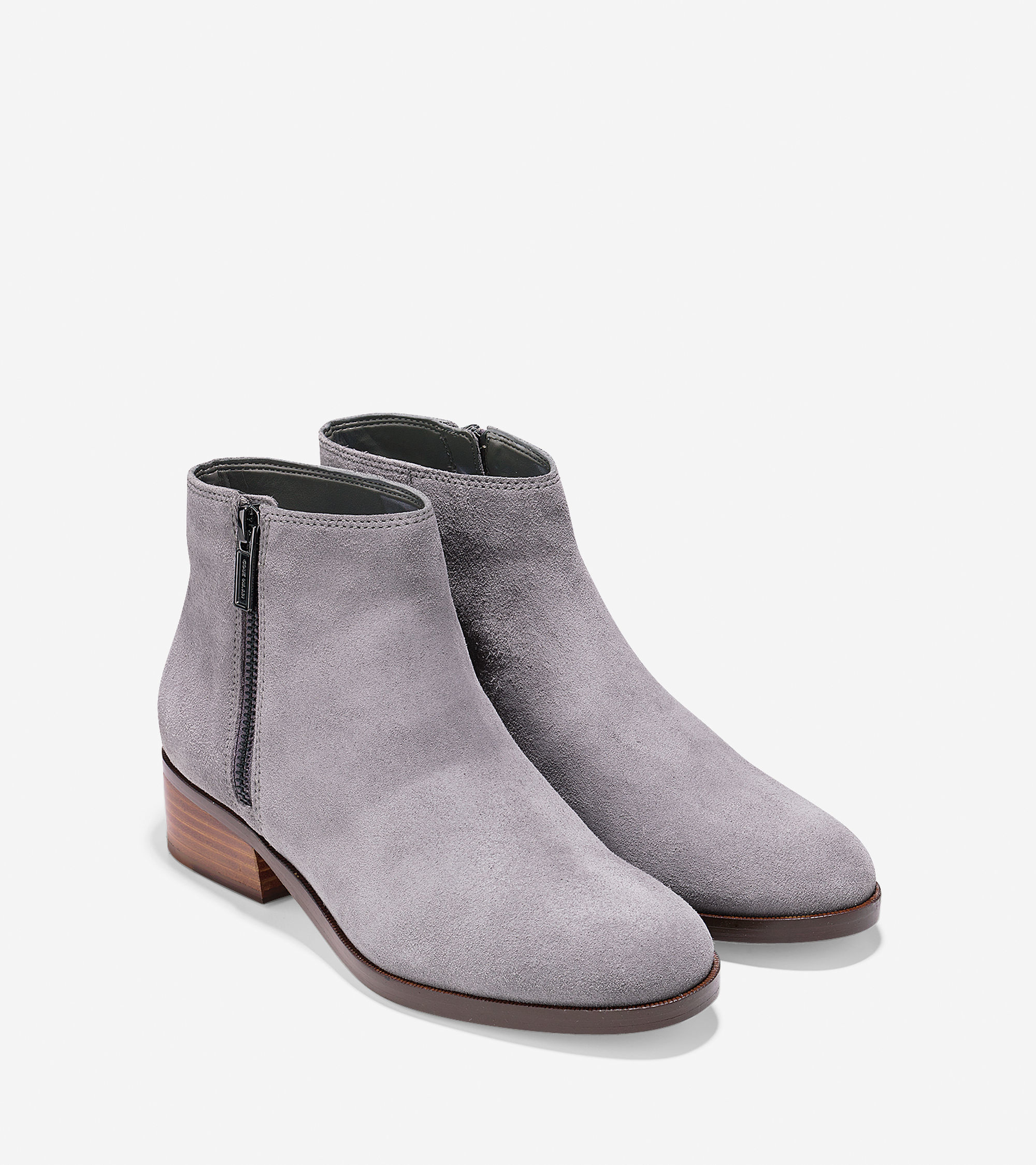 cole haan southport suede ankle boots in gray lyst