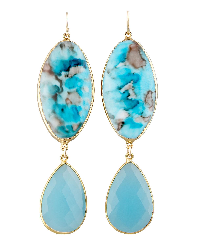 Devon Leigh Turquoise Flower Drop Earrings 4TMCx