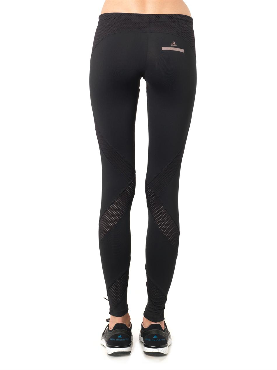 Adidas by stella mccartney Mesh Insert Running Leggings in Black ...