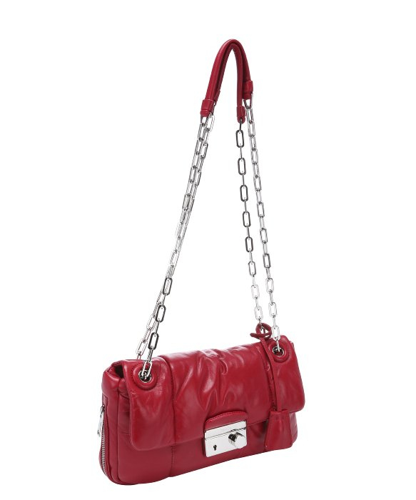 Prada Cherry Quilted Lambskin Chain Link Shoulder Bag in Red ...