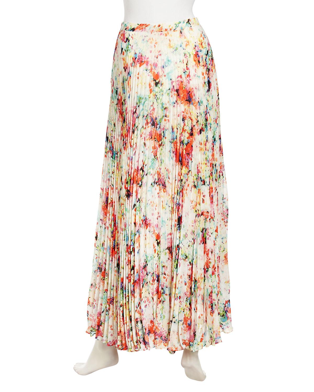 pleated floral maxi skirt dress ala