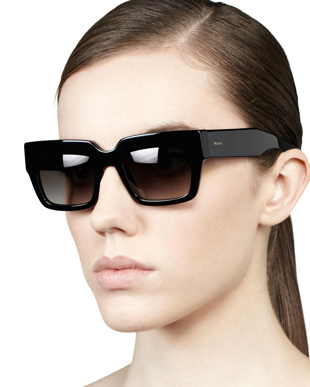 9591a74acdc0 Lyst - Prada Poem Catwalk Square Sunglasses in Black