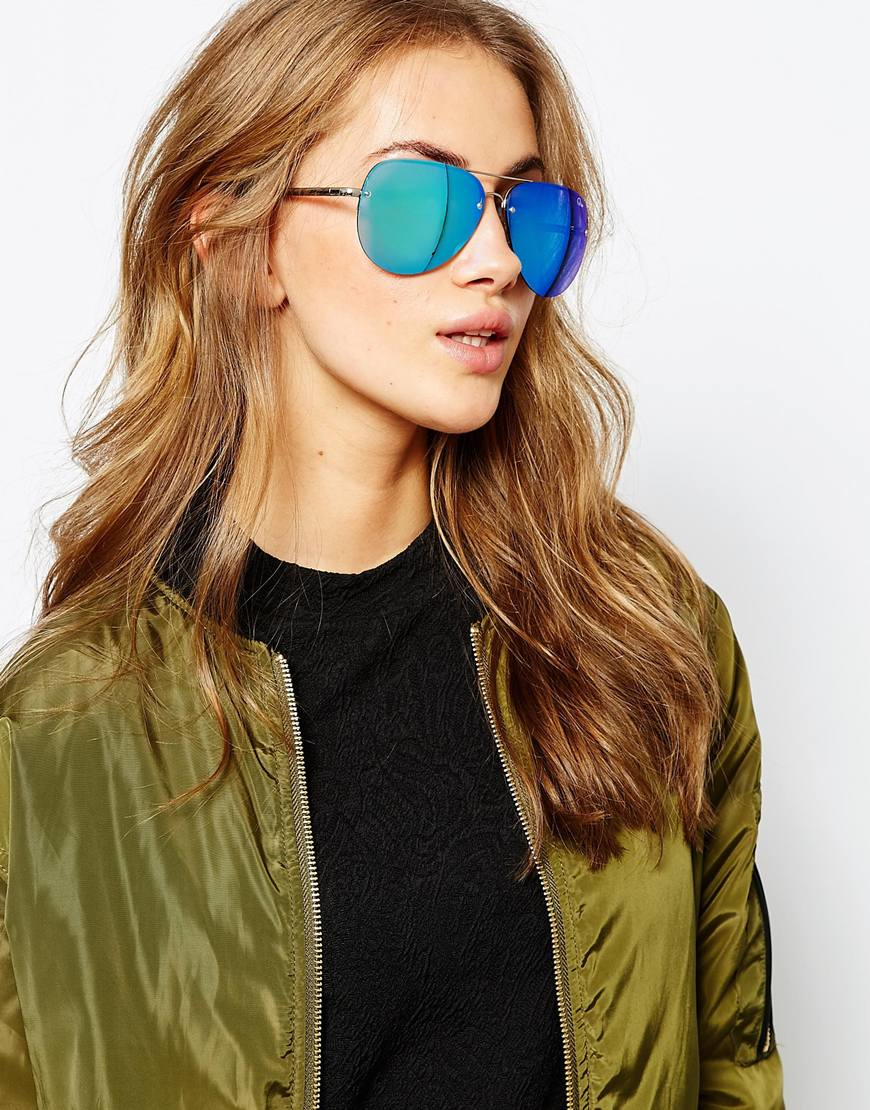 Oversized Aviators Sunglasses  quay x amanda steele muse blue mirror oversized aviator in blue lyst