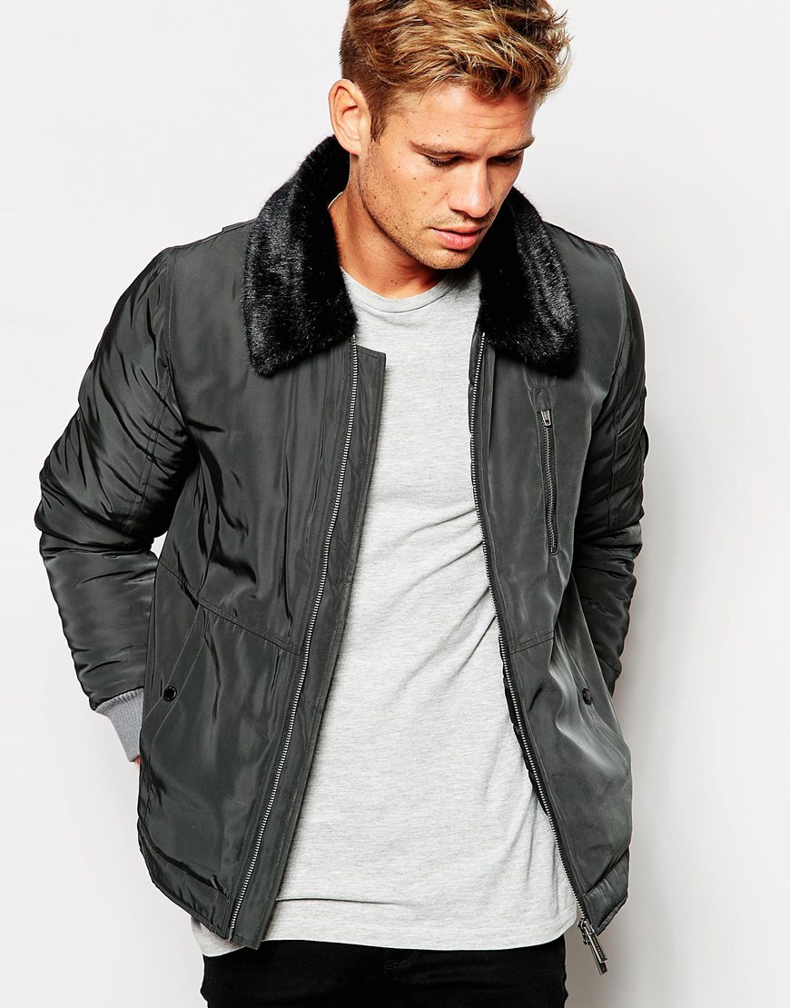 921a97279 Lyst - Native Youth Flight Jacket With Faux Fur Collar in Black for Men