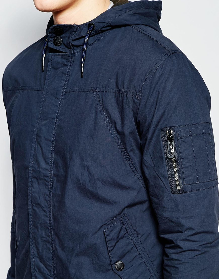 Lyst - Threadbare Hooded Lightweight Jacket in Blue for Men