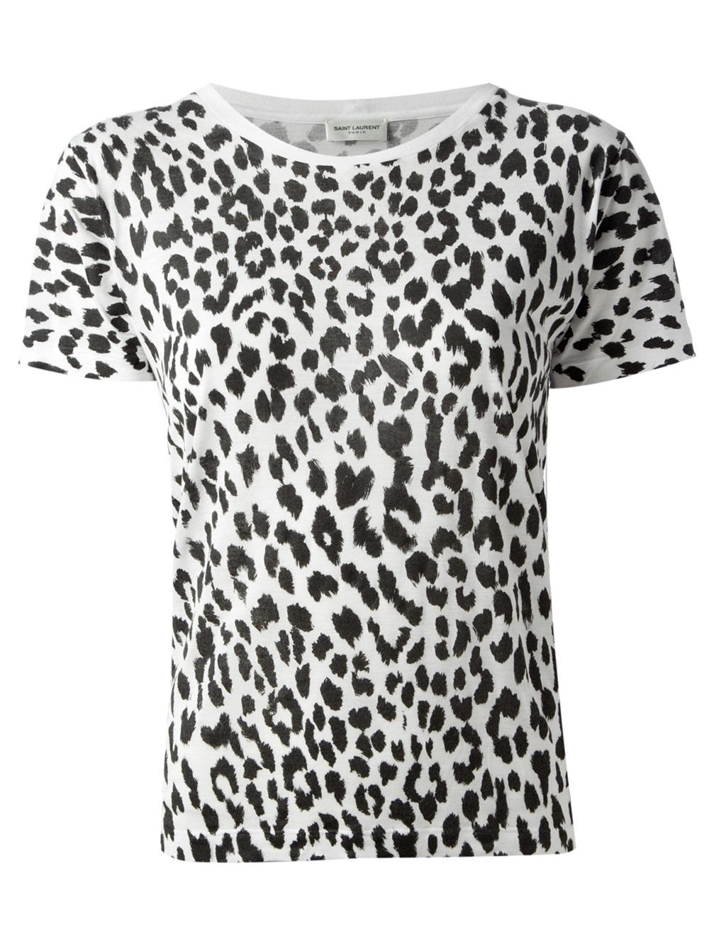 Saint laurent Leopard Print Tshirt in Black