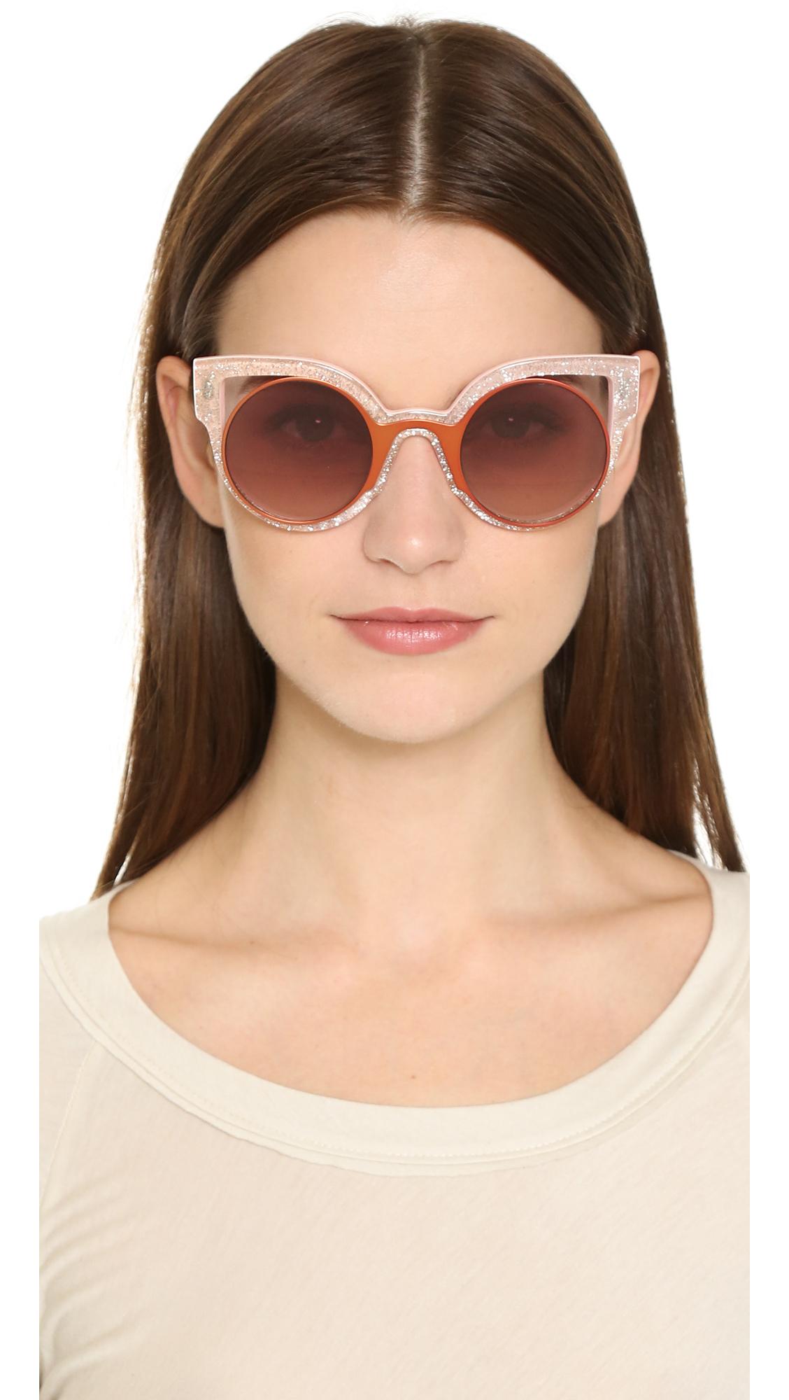 cae7d362b93 Fendi Round Cutout Sunglasses - Glitter White silver in Orange - Lyst