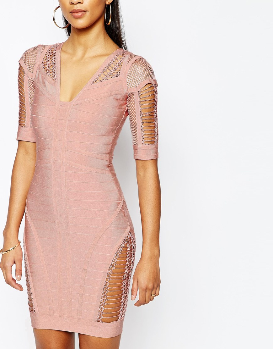 Lyst Wow Couture Bandage Bodycon Dress With Ladder