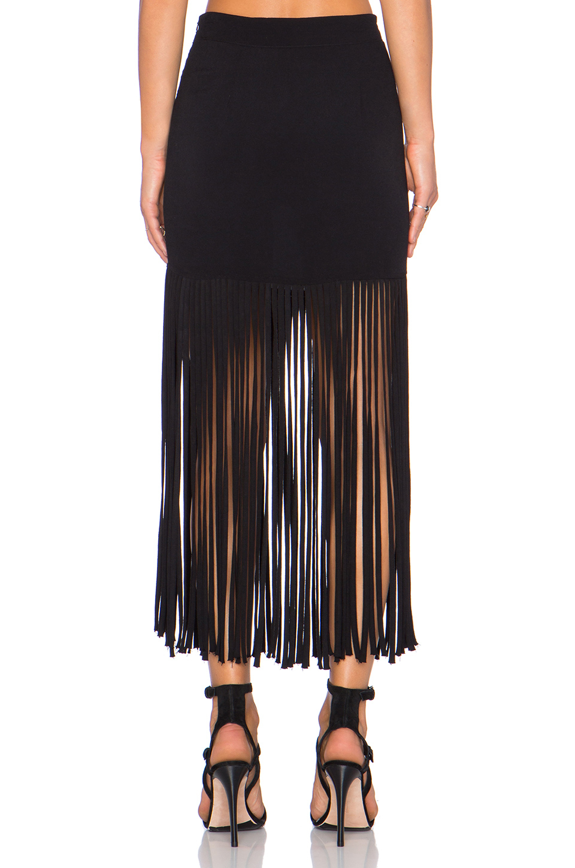 monrow fringe maxi skirt in black lyst