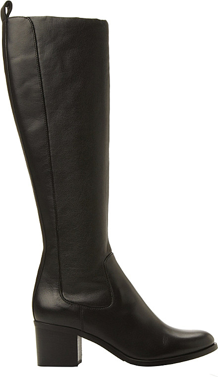 dune black teyla stretch leather knee high boots in black