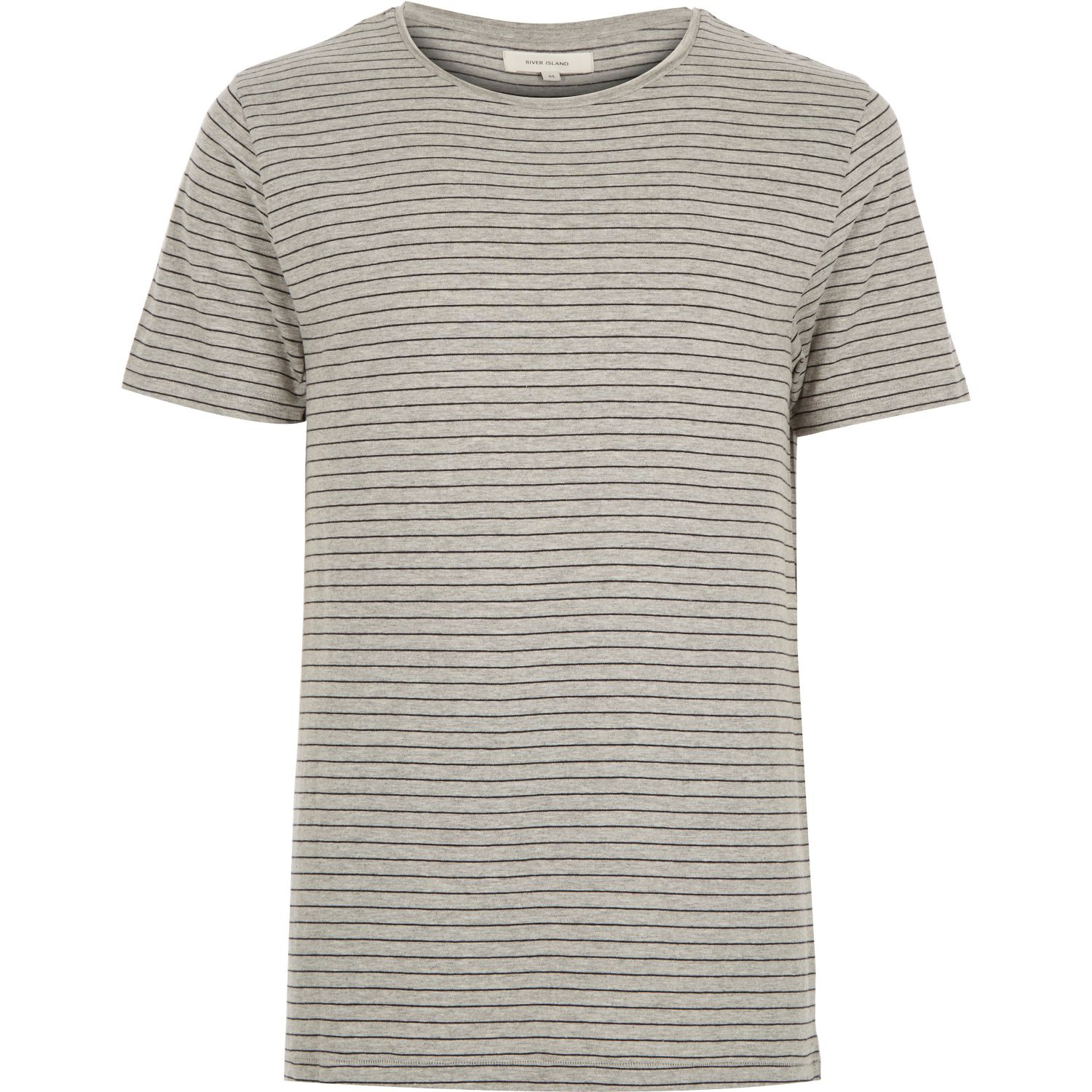 River island grey fine stripe t shirt in gray for men for Grey striped t shirt