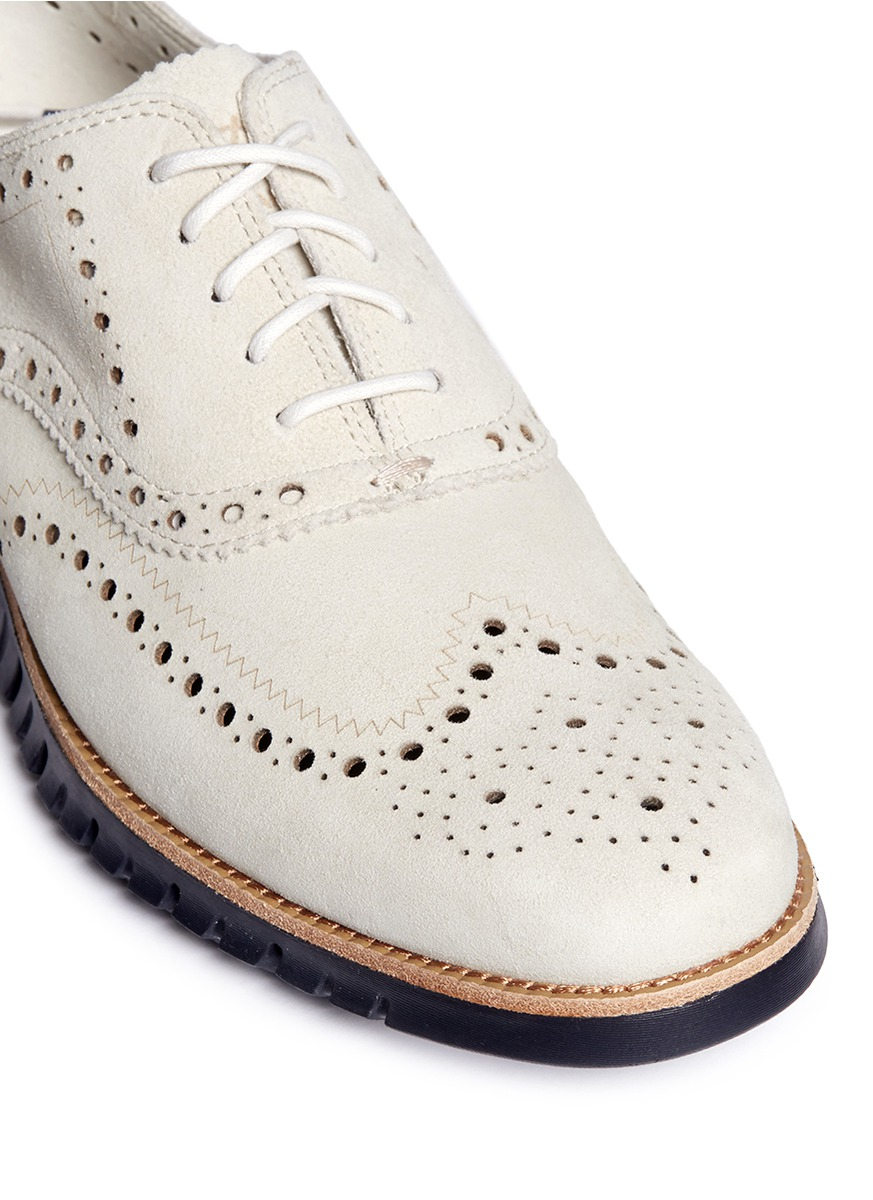 Cole Haan zerogrand Wingtip Brogue Suede Oxfords In