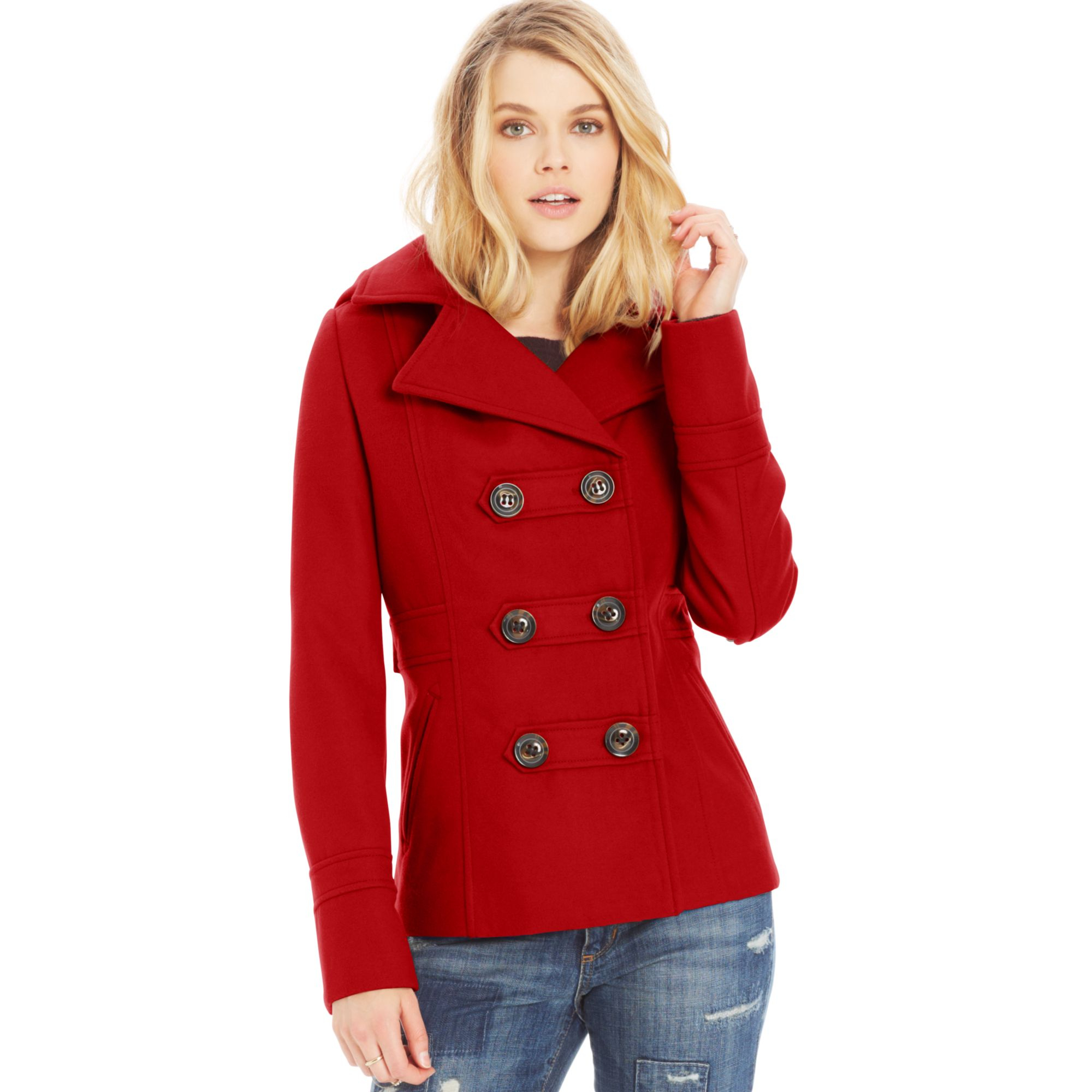 Pea coats with hoods for women