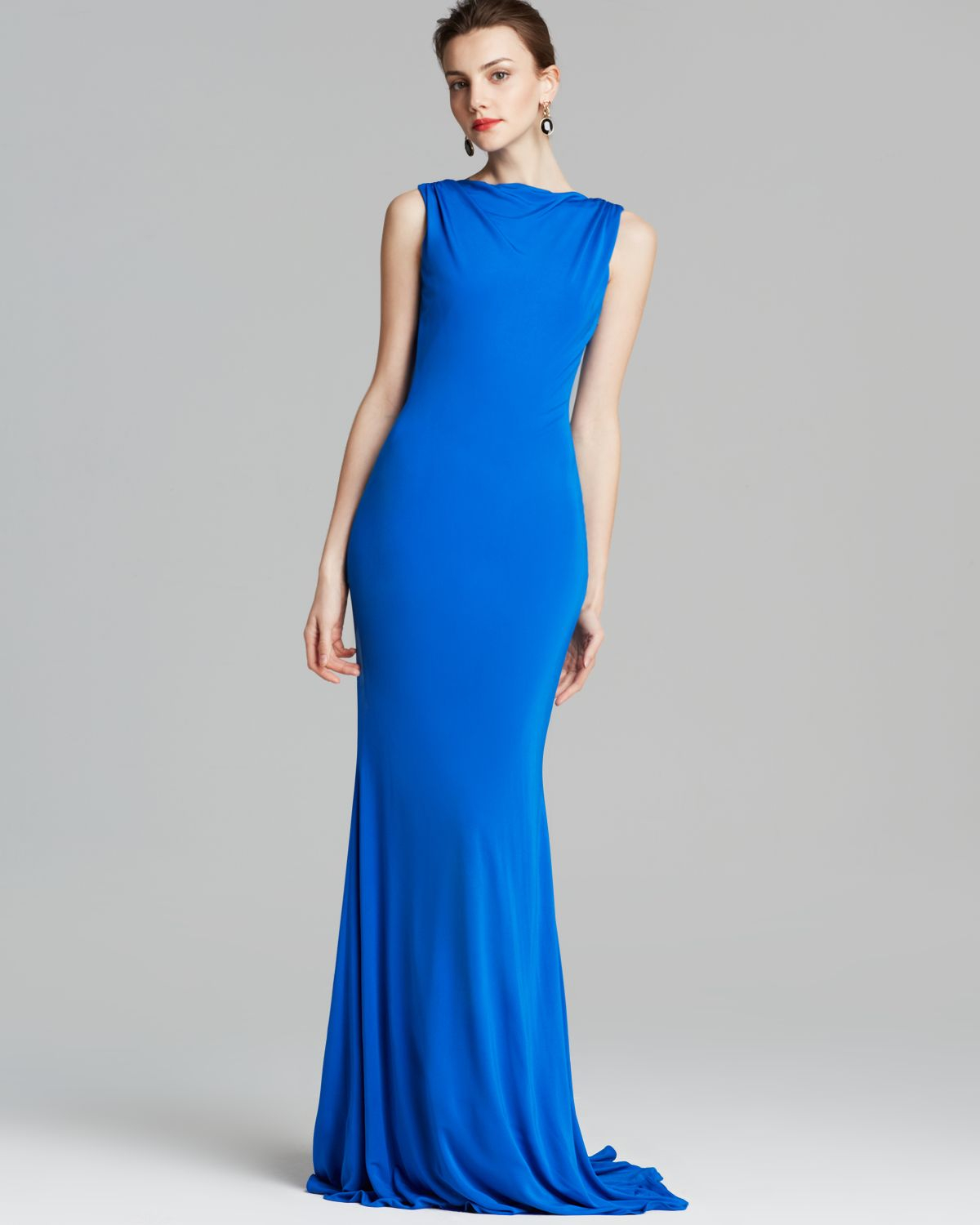 Badgley mischka gown bow back in blue cobalt lyst for Badgley mischka store nyc