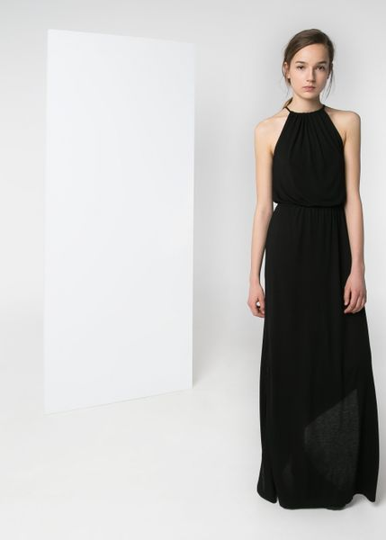 Mango Halter Long Dress In Black Lyst